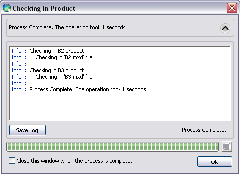 Checking In Product dialog box with progress information