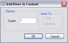Add Rows to Content dialog box