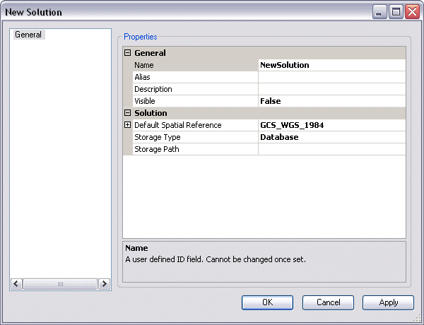 Default Spatial Reference properties on the New Solution dialog box