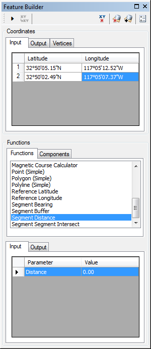 Feature Builder window with the Segment Distance function selected