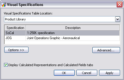Visual Specifications dialog box