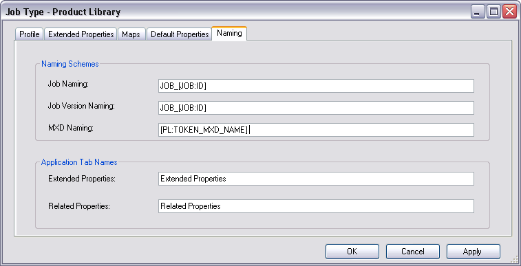 MXD Naming parameter on the Naming tab on the Job Type dialog box