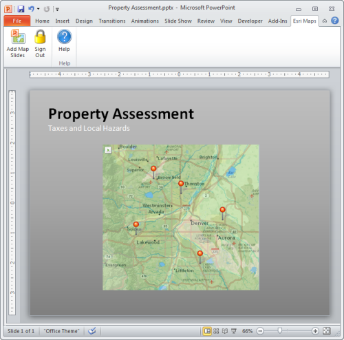 Map included as part of a PowerPoint slide using Esri Maps for Office