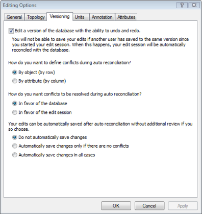 Editor Options dialog box set for versioned edits