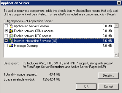Application Server sub-component with IIS selected