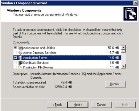 Windows Server 2003 R2 required Windows components