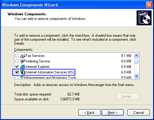 Windows XP required IIS Windows components