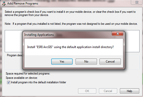 Prompt for installing the field app in a Windows Mobile device