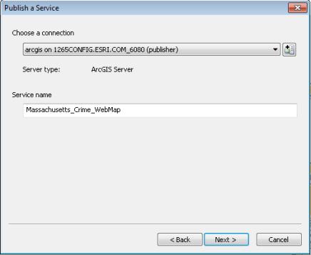 Panel Publicar un servicio, desde donde puede configurar una conexión