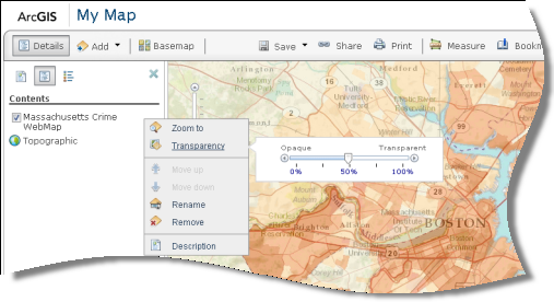 Configuración de transparencia en el menú contextual de las propiedades de la capa