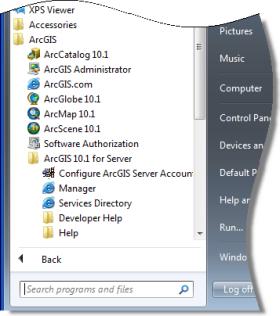 El Directorio de servicios en el menú Inicio de Windows 7