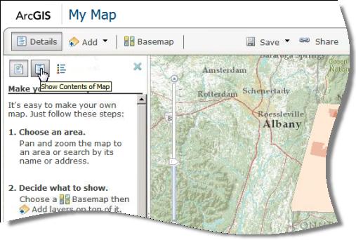 Botón Mostrar contenidos del mapa en el panel lateral