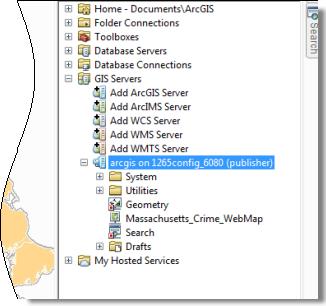 Ventana de Catálogo en ArcMap con la lista de servidores SIG expandida